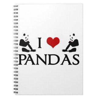 I Love Pandas Spiral Notebook