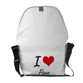 I Love Papa Messenger Bags