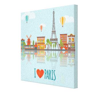 I Love Paris   Cityscape Design Canvas Print