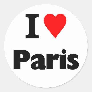 I love paris classic round sticker