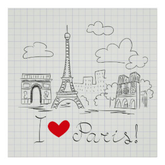 I love Paris cool sketch illustration Poster