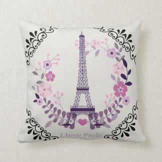 """""""I Love Paris"""" Cream Reversible Pillow"""
