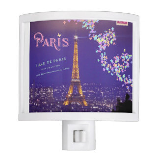 I Love Paris Eiffel Tower Butterflies Nightlight Nite Light