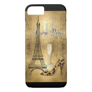 I Love Paris Gold Leaf Eiffel Tower Fashion Shoes iPhone 8/7 Case