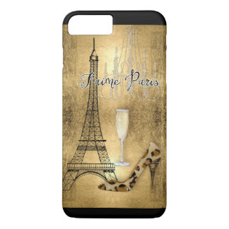 I Love Paris Gold Leaf Eiffel Tower Fashion Shoes iPhone 8 Plus/7 Plus Case