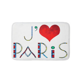 I Love Paris in Notre Dame Stained Glass Bathroom Mat