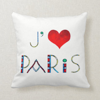 I Love Paris in Notre Dame Stained Glass Throw Pillow