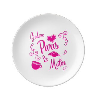I Love Paris in the Morning Coffee Croissant Porcelain Plate