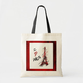 I Love Paris (Red & Black Frame) Tote Bag