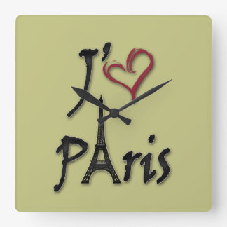 I love Paris Square Wall Clock