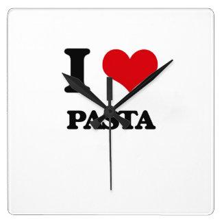 I Love Pasta Square Wall Clock