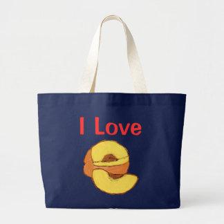 I Love Peaches Large Tote Bag