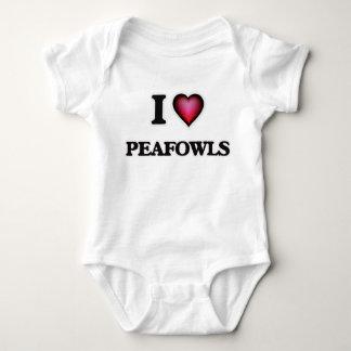 I Love Peafowls Baby Bodysuit