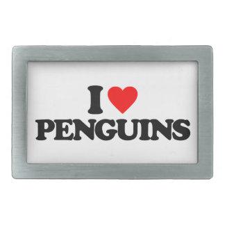 I LOVE PENGUINS RECTANGULAR BELT BUCKLE