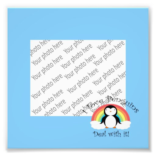 I love penguins deal with it rainbow blue photo
