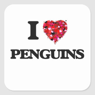 I love Penguins Square Sticker