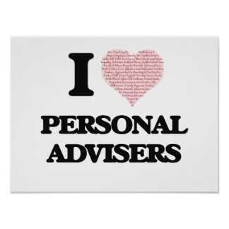 I love Personal Advisers (Heart made from words) Poster