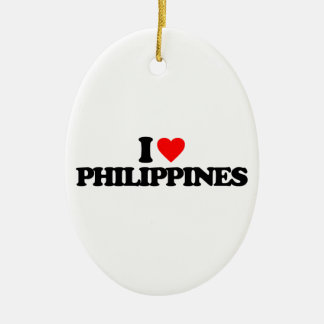 I LOVE PHILIPPINES CERAMIC OVAL ORNAMENT
