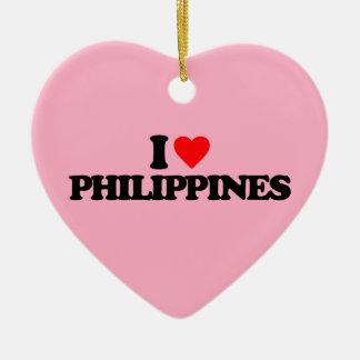 I LOVE PHILIPPINES CERAMIC HEART ORNAMENT