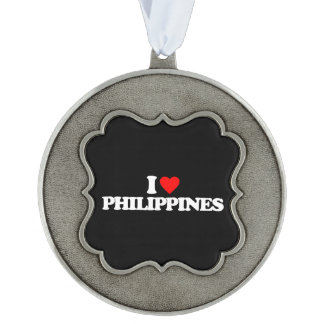 I LOVE PHILIPPINES SCALLOPED PEWTER ORNAMENT