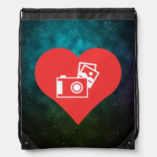 I Love Photo Albums Cool Symbol Drawstring Bag