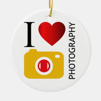 I love photography round ceramic ornament