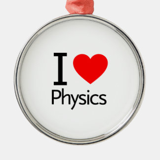 I Love Physics Metal Ornament