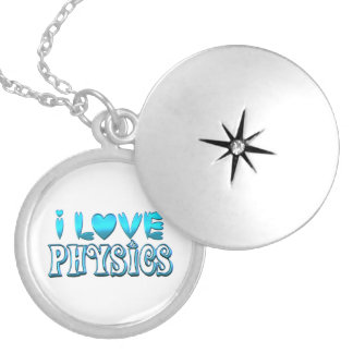 I Love Physics Silver Plated Necklace
