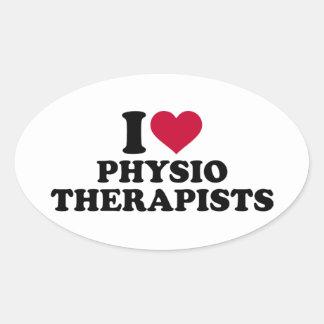 I love physiotherapists oval sticker