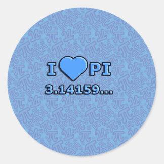 I LOVE PI - BLUE MODEL ROUND STICKER