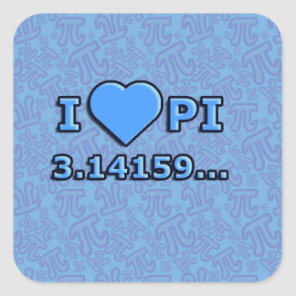 I LOVE PI - BLUE MODEL SQUARE STICKER