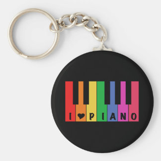 I Love Piano Basic Round Button Keychain