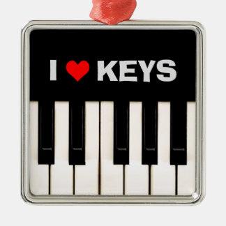 I love Piano Keys Silver-Colored Square Ornament
