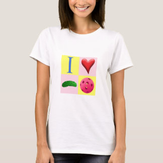 I Love Pickleball with fuchsia and pink T shirt