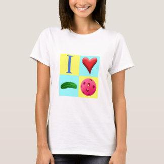 I Love Pickleball with fuchsia T shirt