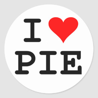 I love pie (black lettering) classic round sticker