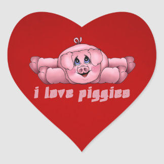 I Love Piggies Heart Sticker