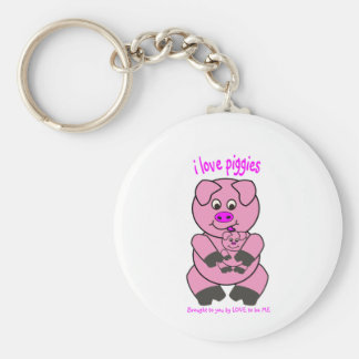 I LOVE PIGGIES - LOVE TO BE ME BASIC ROUND BUTTON KEYCHAIN