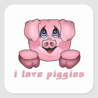 I Love Piggies Square Sticker