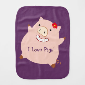 I Love Pigs (customizable pretty pig) Burp Cloth
