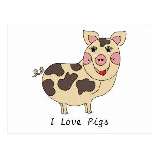 I Love Pigs Whimsical Postcard