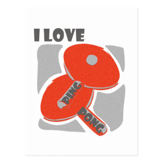 I Love Ping Pong Wild Red Paddles Postcard