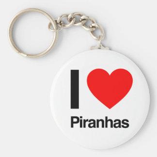 i love piranhas basic round button keychain