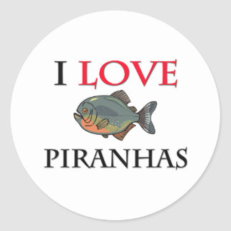 I Love Piranhas Classic Round Sticker