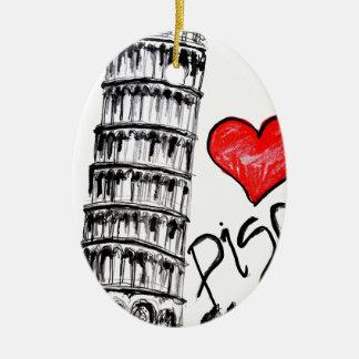I love Pisa Ceramic Oval Ornament