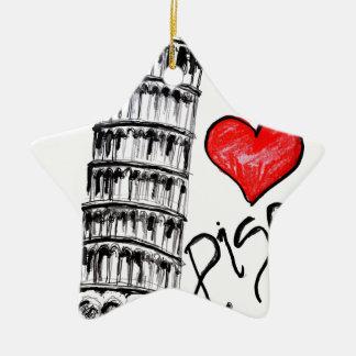 I love Pisa Ceramic Star Ornament