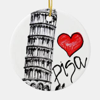 I love Pisa Round Ceramic Ornament