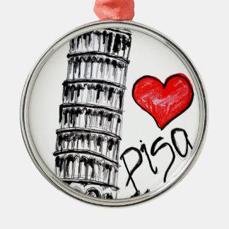 I love Pisa Silver-Colored Round Ornament