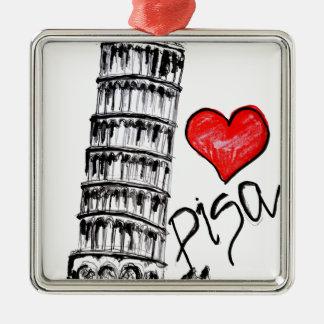 I love Pisa Silver-Colored Square Ornament