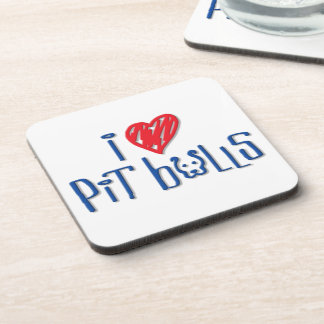 I Love Pit Bulls Beverage Coasters